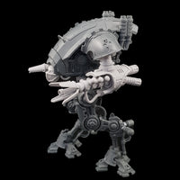 "alt=""graviton pulsars assembled on imperial knight armiger, also pictured with masked skull head. Left side shown with open petal barrel"""