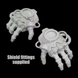 "alt=""pair of assembled imperial knight melee gauntlets with shield connectors on back of hands"""