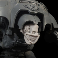 "alt=""imperial knight masked skull shown on an assembled imperial knight model kit"""