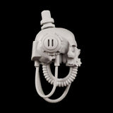 "alt=""imperial knight skull head assembled right side view, a human like skull with affixed drooping cables and vents"""