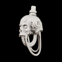 "alt=""imperial knight skull head shown from the left, assembled with cables looped"""