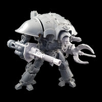 "alt=""lightning cannon shown assembled on a questoris imperial knight, also pictured with alternate skull head and claw arm. I hope my alt tags are ok by the way"""