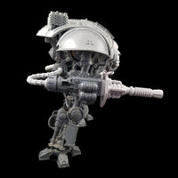 "alt=""lightning cannon shown assembled on a questoris imperial knight, pictured side on for a full view of the cannon"""