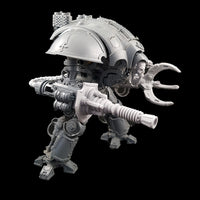 "alt=""lightning cannon shown assembled on a questoris imperial knight, also pictured with alternate skull head and claw arm. shown in a three quarter view and looking totally awesome"""
