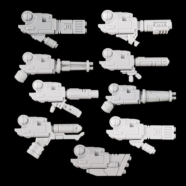 "alt=""tau crisis battle suit alternative weapons all 9 options mounted on weapon arms"""