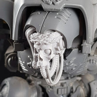 "alt=""Imperial knight Santa skull head assembled and in situ on an imperial knight"""