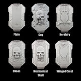 "alt=""imperial knight breach shields with names, line up of all six designs. Top left to right 2 rows of 3, plain, cog, heraldry, chaos, mechanical skull and winged crest"""