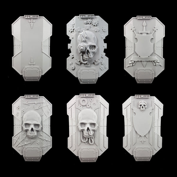 "alt=""imperial knight breach shields, line up of all six designs. Top left to right 2 rows of 3, plain, cog, heraldry, chaos, mechanical skull and winged crest"""