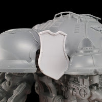"alt=""imperial knight dominus shoulder mounted tilt shield mounted on knight"""