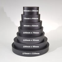 "alt=""stack of seven black resin oval plinths with text detailing the dimensions of each"""