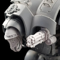 "alt=""Pintle mounted gatling gun assembled on a questoris imperial knight, pictured with our very own alternate knight head, left hand view"""
