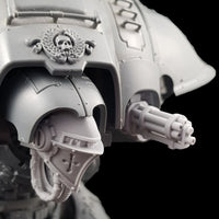 "alt=""Pintle mounted gatling gun assembled on a questoris imperial knight, pictured with our very own alternate knight head"""