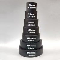"alt=""seven black resin oval plinths against white background, stacked into one column with text dimensions for each"""