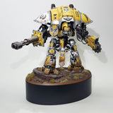 "alt=""painted yellow imperial knight on a scenic base mounted onto the largest of the oval plinths for reference"""