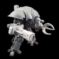 "alt=""imperial knight volkite Chieorovile assembled and mounted on a questoris imperial knight kit, pictured in a three quarter view"""