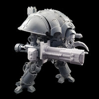 "alt=""imperial knight volkite Chieorovile assembled and mounted on a questoris imperial knight kit, side view"""