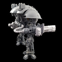 "alt=""imperial knight volkite Chieorovile assembled and mounted on a questoris imperial knight kit, rear view showing the attached power cable"""