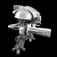 "alt=""imperial knight volkite Chieorovile assembled and mounted on a questoris imperial knight kit"""