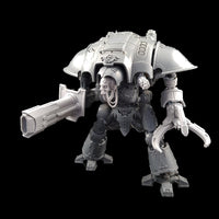 "alt=""volkite Chieorovile assembled and mounted on a questoris imperial knight kit, left hand view. Also pictured with alternate skull head, claw arm and gatling cannon shoulder mount"""