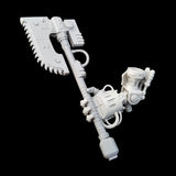 "alt=""imperial knight melee gauntlet assembled with arm joint and gripping a weapon handle with a chain axe head"""