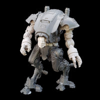 "alt=""imperial knight armiger model kit assembled with two combat fists, posed looking to its left. Also assembled with a skull head and waist riser"""