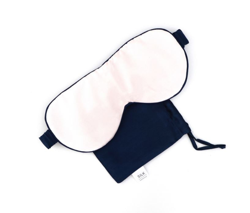 PURE SILK TRAVEL EYE MASK - PEONY PINK PIPED IN FRENCH NAVY