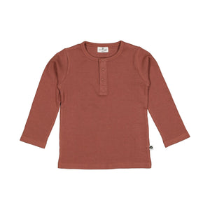 Henley Rib Top L/S - Clay