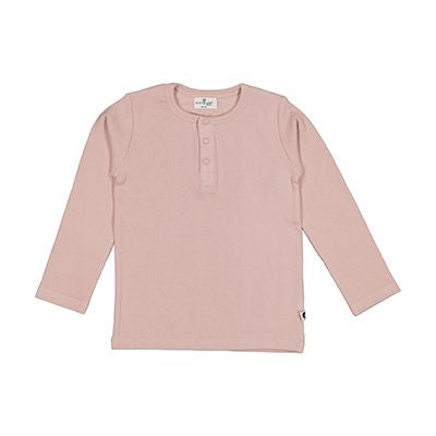 Henley Rib Top L/S - Dusty Rose