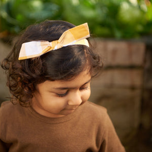 SMALL BOW HEAD BAND GINGHAM - HONEY CHECK