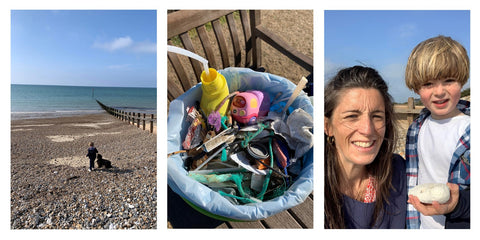 Big Ocean Clean Up and collects plastic from local beach