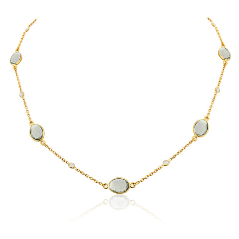 Cannes Gold Green Amethyst Necklace