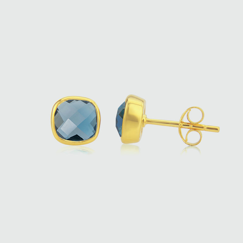 Brooklyn Gold & London Topaz Cushion Stud Earrings
