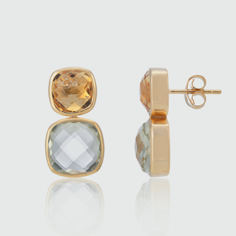 Kerala Citrine, Green Amethyst & Gold Vermeil Earrings