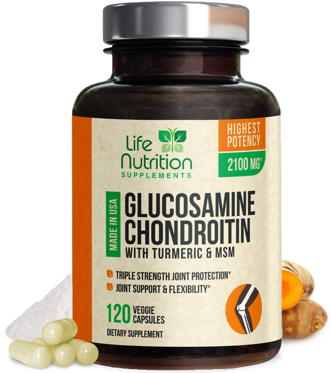 Glucosamine with Chondroitin Turmeric MSM, Triple Strength 2100mg, for Hip, Knee, Joint & Back Comfort - Made in USA - Joint Supplement with Boswellia & Bromelain. Non GMO - 120 Capsules