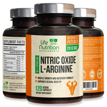 Load image into Gallery viewer, Extra Strength L Arginine Nitric Oxide Supplement 2010mg - Citrulline Malate, AAKG, Beta Alanine - Premium Muscle Building No Booster for Strength, Vascularity & Energy to Train Harder - 120 Capsules