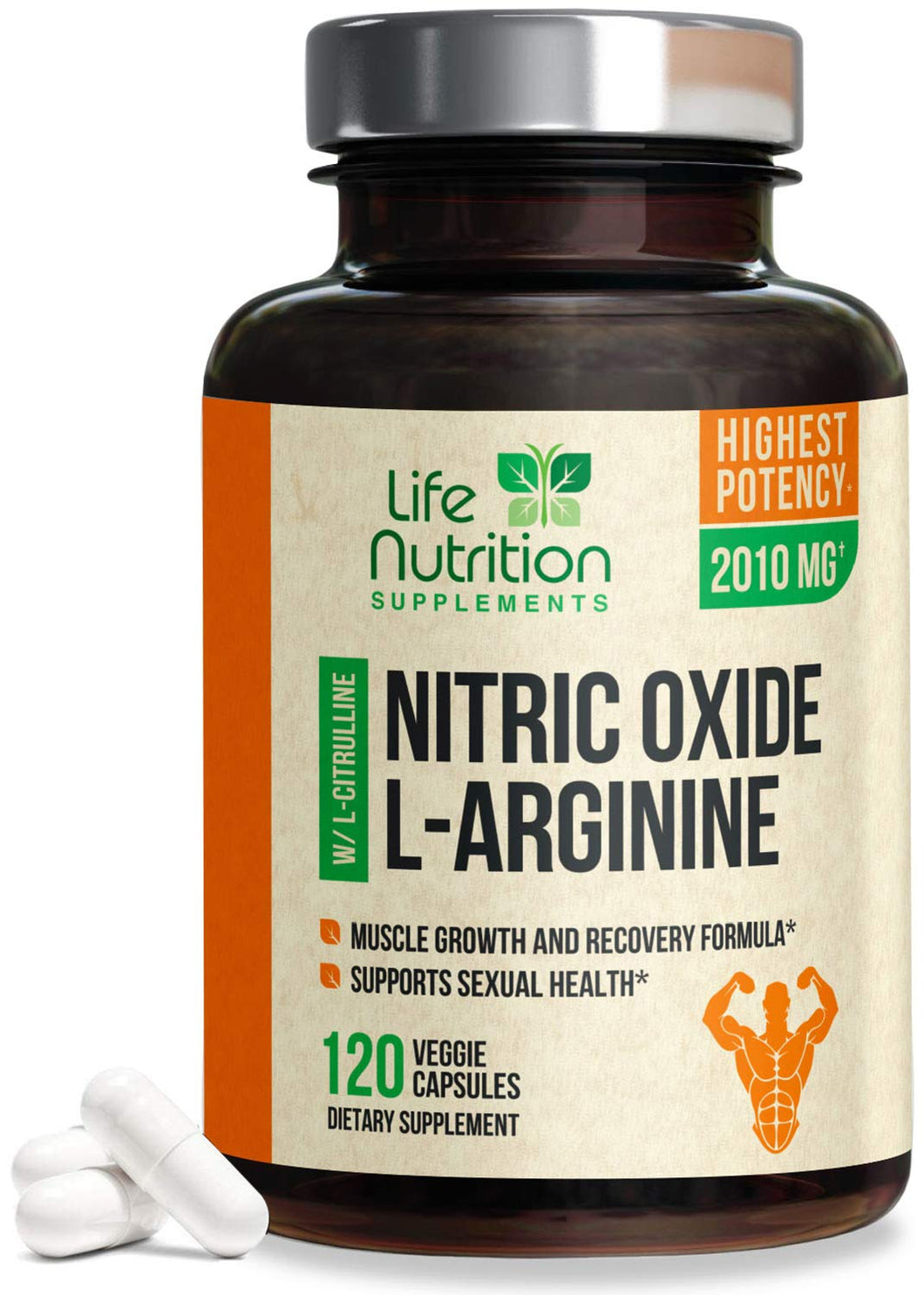 Extra Strength L Arginine Nitric Oxide Supplement 2010mg - Citrulline Malate, AAKG, Beta Alanine - Premium Muscle Building No Booster for Strength, Vascularity & Energy to Train Harder - 120 Capsules