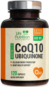 CoQ10 High Absorption Coenzyme Q10 400mg - Made in USA - Natural Antioxidant Support for Heart Health and Normal Energy Production for Men & Women - Non-GMO, Gluten Free - 120 Capsules