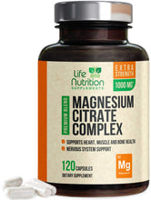Load image into Gallery viewer, Magnesium Citrate Capsules Highest Potency 1000mg - 100% Chelated for High Absorption - Made in USA - Best Stress Relief, Sleep, Muscle Relaxation, Bone, Joint, Heart Supplement - 120 Capsules