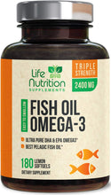 Load image into Gallery viewer, Fish Oil - Triple Strength Omega 3 Supplement with 2400mg EPA & DHA Essential Fatty Acids - Made in USA - Heart, Brain, Joint Support for Men & Women - Non-GMO, Lemon Flavor - 120 Softgels