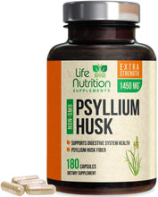 Load image into Gallery viewer, Psyllium Husk Capsules, Highest Potency Dietary Fiber 1450mg - Psyllium Powder Supplement, 100% Soluble Pills, Helps Constipation, Digestion, Intestinal Health and Natural Weight Loss - 120 Capsules