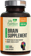 Load image into Gallery viewer, Brain Supplement, Highest Potency Nootropic Booster 1000mg - Memory Pills for Better Focus & Clarity, Made in USA, Best Natural Mental Performance & Concentration Support