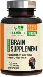 Brain Supplement, Highest Potency Nootropic Booster 1000mg - Memory Pills for Better Focus & Clarity, Made in USA, Best Natural Mental Performance & Concentration Support