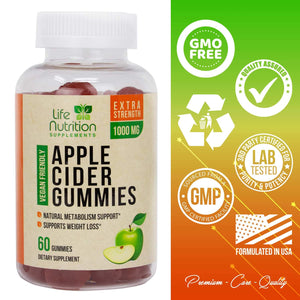 100% Natural Apple Cider Vinegar Gummies for Weight Loss 1400mg - Highest Potency ACV Gummy Vitamin - Fast Fat Burning, Detox Cleanse & Appetite Suppressant for Men & Women - 60 Gummies