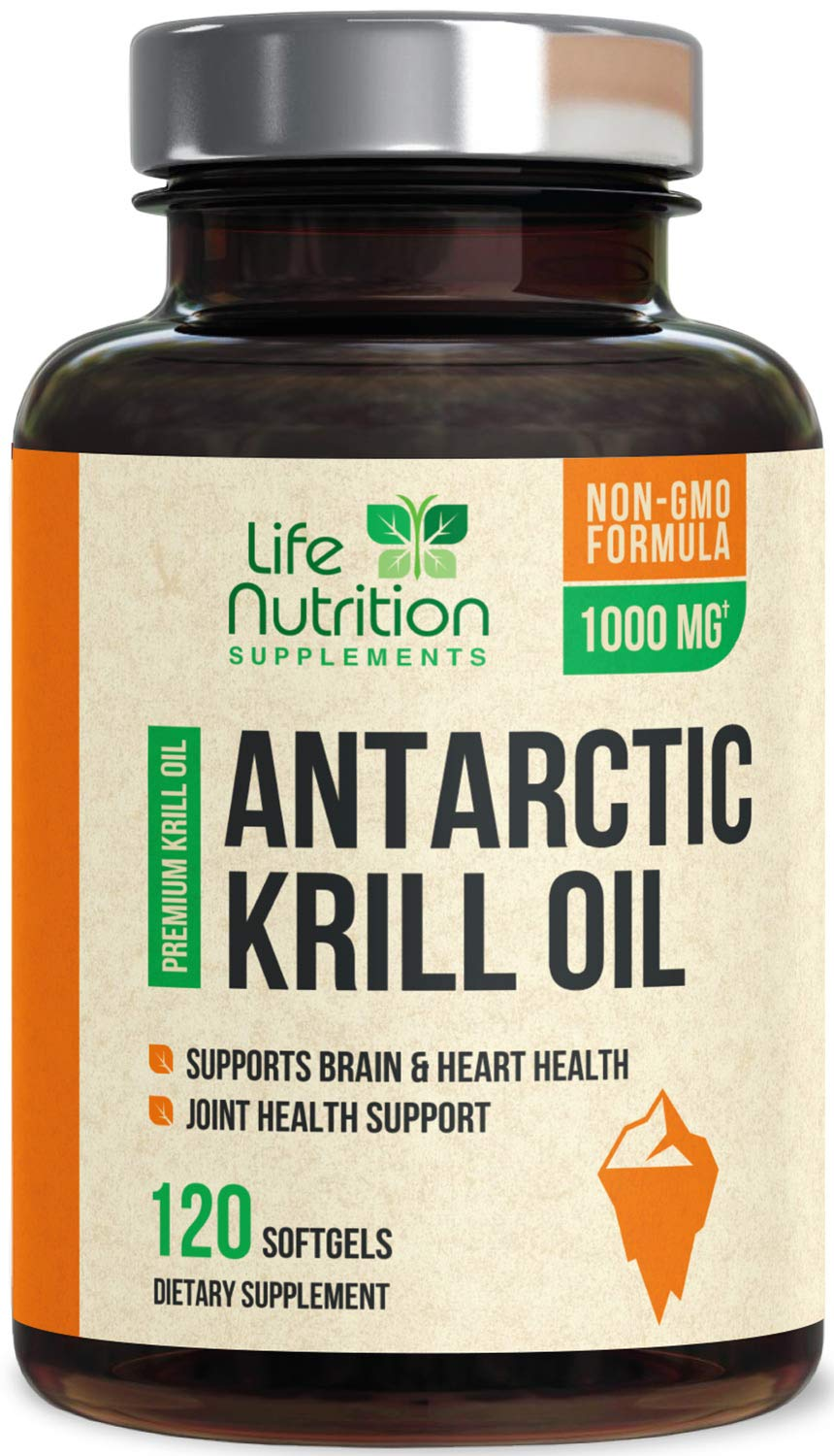 Antarctic Krill Oil Supplement 1000mg Highest Potency Krill w/Omega 3, EPA, DHA & Astaxanthin - Made in USA - Heart & Joint Support, Non-GMO, No Fishy Aftertaste for Men Women - 120 Softgels