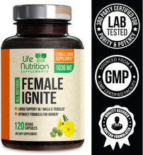Load image into Gallery viewer, Female Libido Enhancement Supplement Pills with Maca, Tribulus & Horny Goat Weed 1000mg for Excitement, Desire & Energy Vitamins for Women - B12, Red Panax Ginseng, Dong Quai & Gingko - 120 Capsules