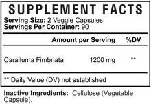 Load image into Gallery viewer, Caralluma Fimbriata Extract Highest Potency 1200mg - Natural Support for Healthy Metabolism & Endurance, Made in USA, Best Vegan Diet Pills Supplement for Men & Women, Non-GMO - 180 Capsules