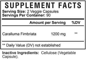 Caralluma Fimbriata Extract Highest Potency 1200mg - Natural Support for Healthy Metabolism & Endurance, Made in USA, Best Vegan Diet Pills Supplement for Men & Women, Non-GMO - 180 Capsules