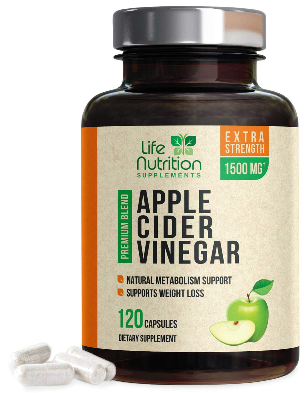 100% Raw Apple Cider Vinegar Capsules Highest Potency 1500mg - Weight Management & Metabolism Booster, Made in USA, Best Vegan ACV Pills, Heartburn Relief & Detox Cleanse Supplement - 120 Capsules