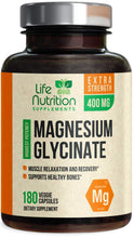 Load image into Gallery viewer, Magnesium Glycinate Capsules Highest Potency Chelated 400mg - High Absorption Mag Supplement - Made in USA - Best Vegan Stress Relief, Sleep, Muscle Cramps & Relaxation, Non-GMO - 120 Capsules