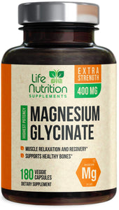 Magnesium Glycinate Capsules Highest Potency Chelated 400mg - High Absorption Mag Supplement - Made in USA - Best Vegan Stress Relief, Sleep, Muscle Cramps & Relaxation, Non-GMO - 120 Capsules